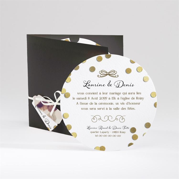 Faire-part mariage Pluie de confettis dorés réf.N90010
