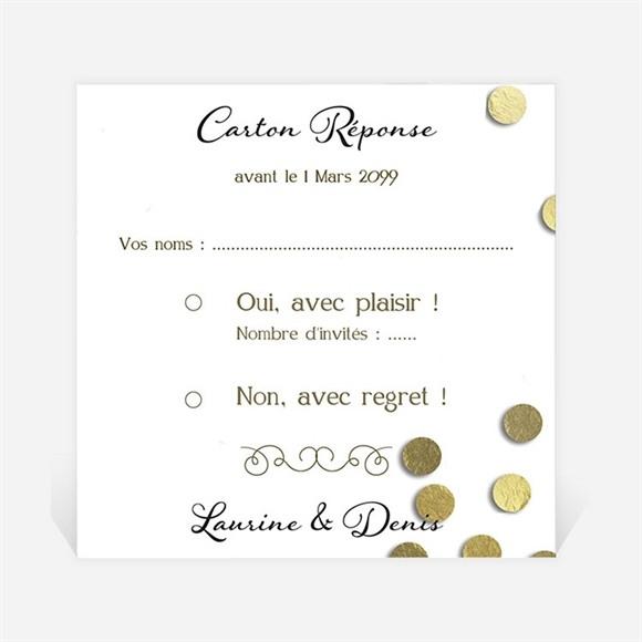 Carton réponse mariage Pluie de confettis dorés réf.N3001035