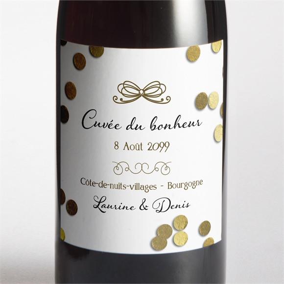 Etiquette de bouteille mariage Pluie de confettis dorés réf.N3001036