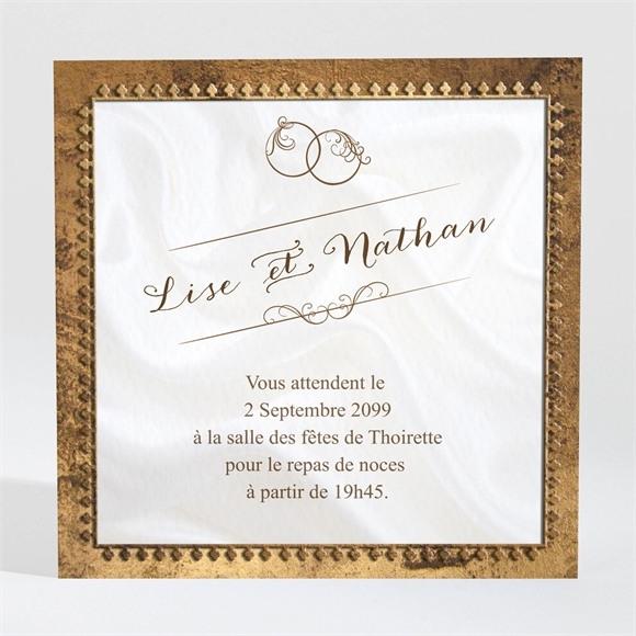 Carton d'invitation mariage Cadre cuivré réf.N300962