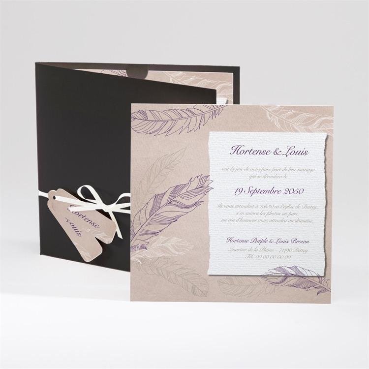 Faire-part mariage Jolies plumes réf.N91017