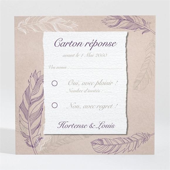 Carton réponse mariage Jolies plumes réf.N3001038