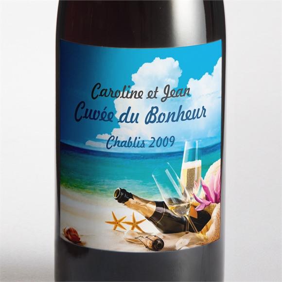 Etiquette de bouteille mariage Paradisiaque réf.N3001042