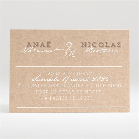Carton d'invitation mariage Noir et Kraft chic réf.N120317