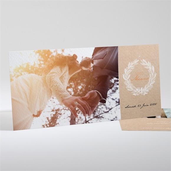 Remerciement mariage Noir et Kraft chic réf.N13155
