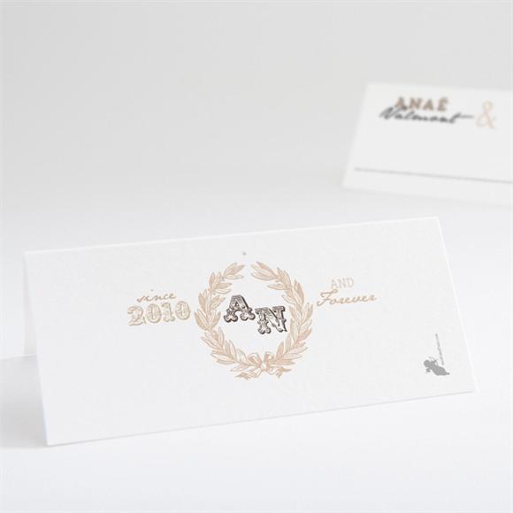 Marque-place mariage Noir et Kraft chic réf.N440549