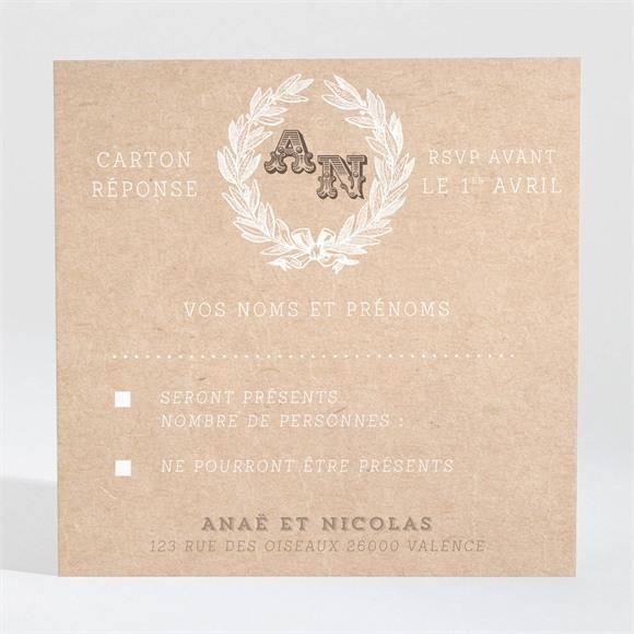 Carton réponse mariage Noir et Kraft chic réf.N3001046