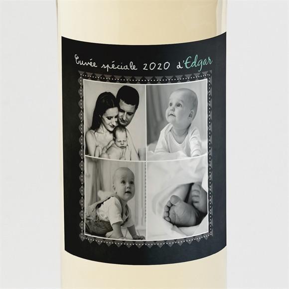 Etiquette de bouteille naissance Cocotte en ardoise réf.N3001079