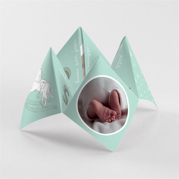 Faire-part naissance Vert et blanc réf.N33031