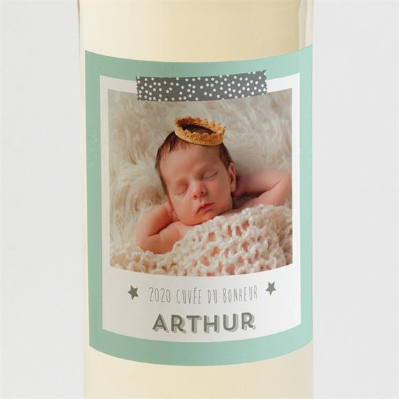 Etiquette de bouteille naissance Vert et blanc réf.N3001083