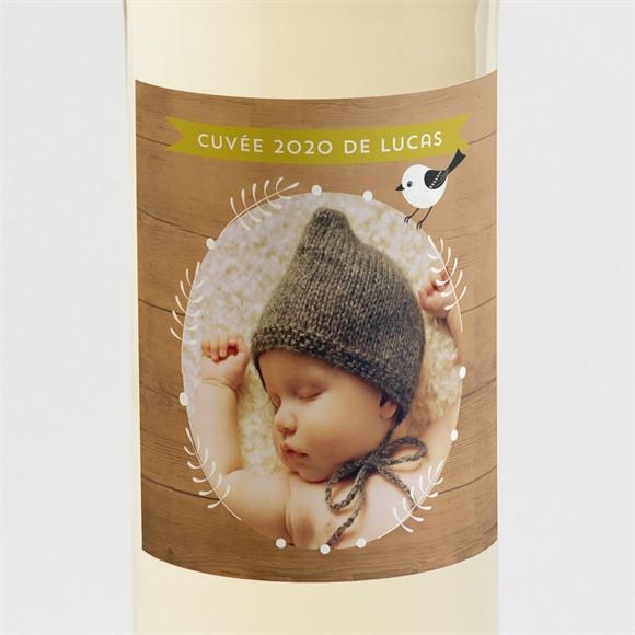 Etiquette de bouteille naissance Touche de bois originale réf.N3001087