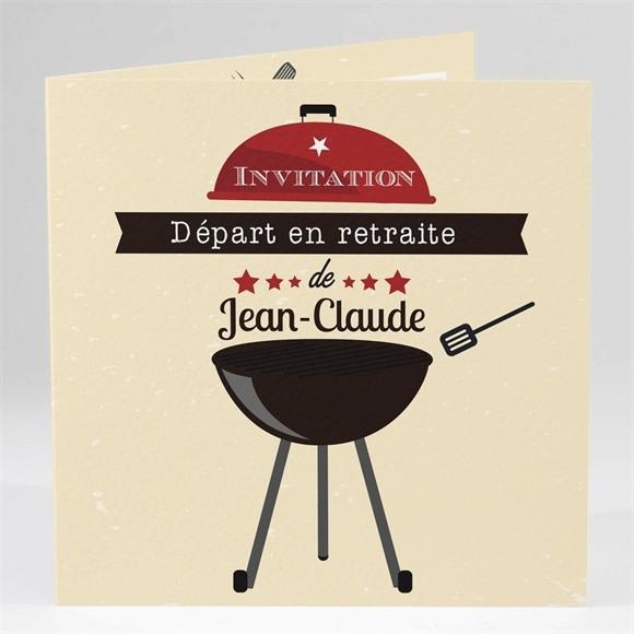 Carte invitation départ à la retraite Autour d'un barbecue réf.N45144