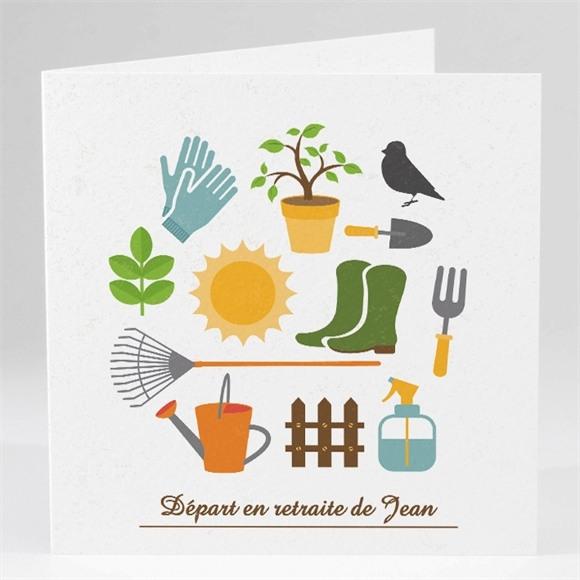 Carte invitation départ à la retraite Loisirs et jardinage réf.N45145