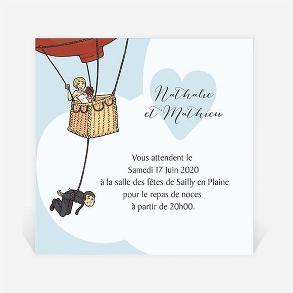 Carton d'invitation mariage En Montgolfière humour réf.N3001110