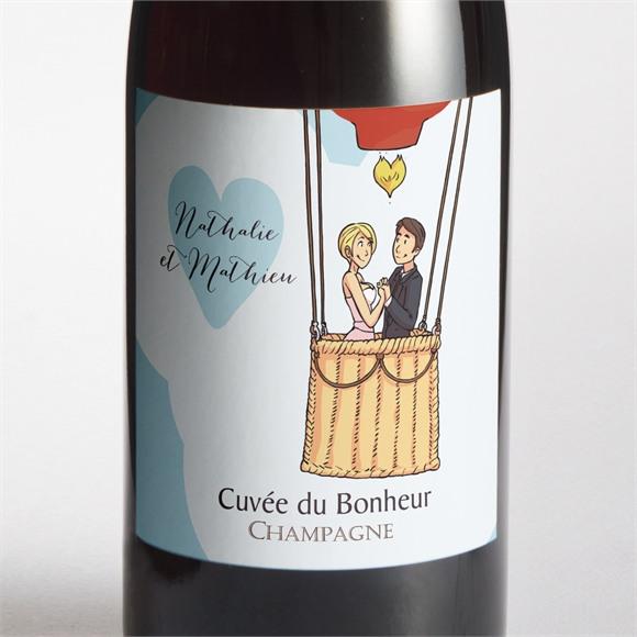 Etiquette de bouteille mariage En Montgolfière humour réf.N3001112