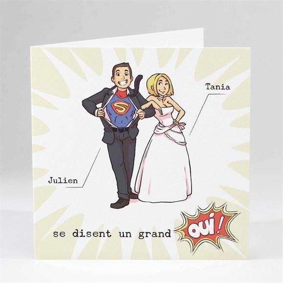 Faire-part mariage Le Super Héros dit oui! réf.N45148