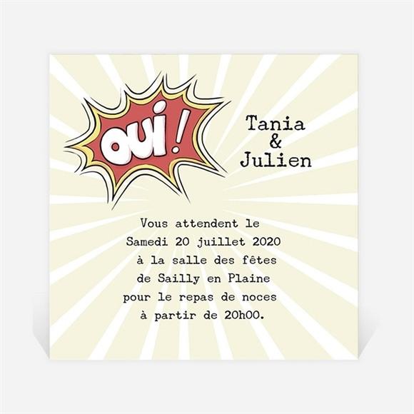 Carton d'invitation mariage Le Super Héros dit oui! réf.N3001113