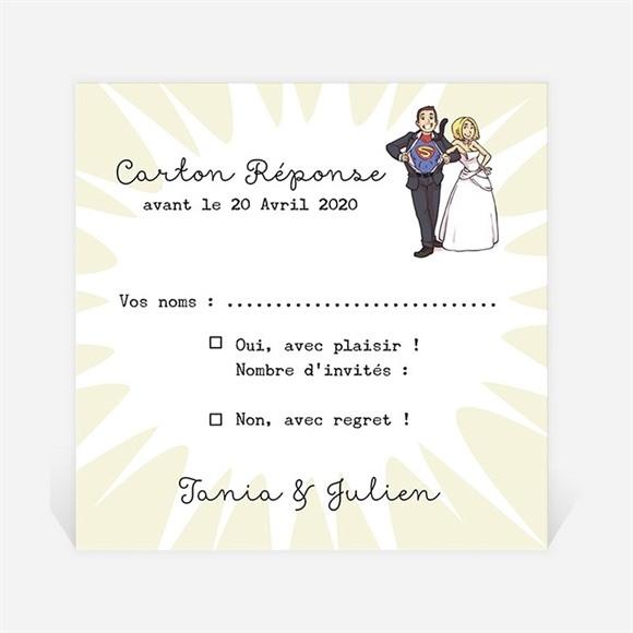 Carton réponse mariage Le Super Héros dit oui! réf.N3001114