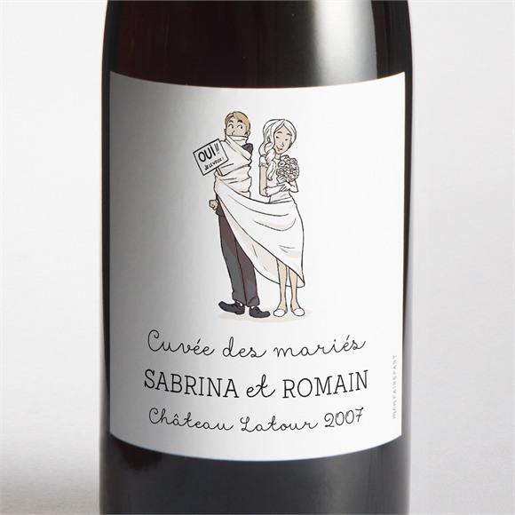 Etiquette de bouteille mariage Mariage original en humour réf.N3001118