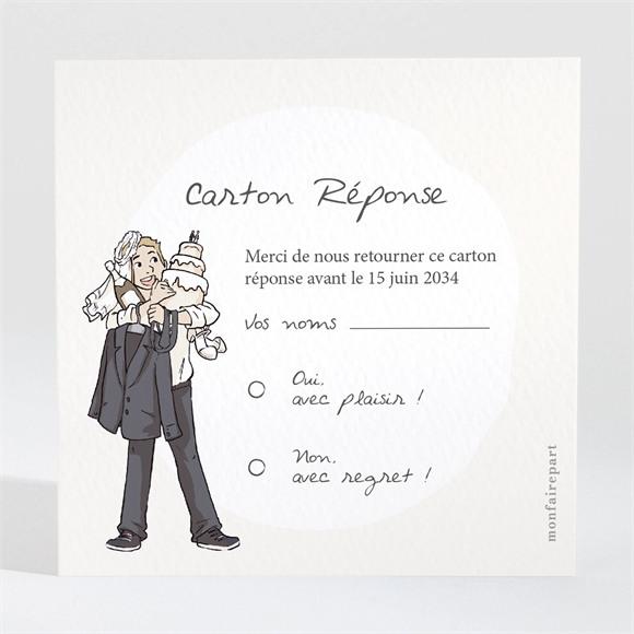 Carton réponse mariage Mariés illustrés réf.N3001120