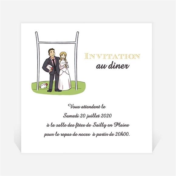 Carton d'invitation mariage Humour et Rugby réf.N3001122