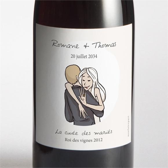 Etiquette de bouteille mariage Mariés illustrés réf.N3001121