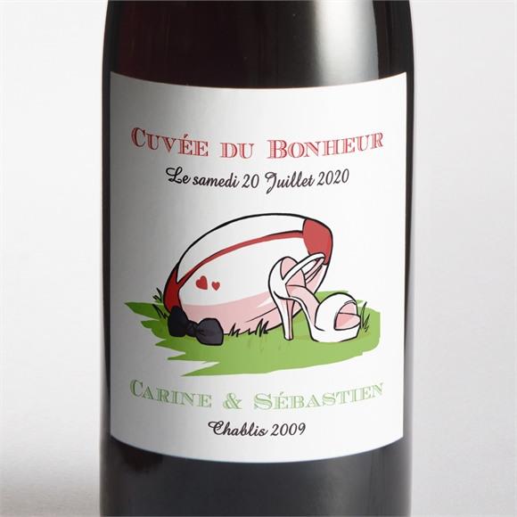 Etiquette de bouteille mariage Humour et Rugby réf.N3001124