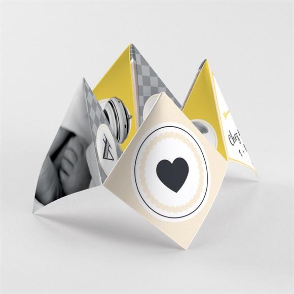 Faire-part naissance Noir et jaune réf.N33044