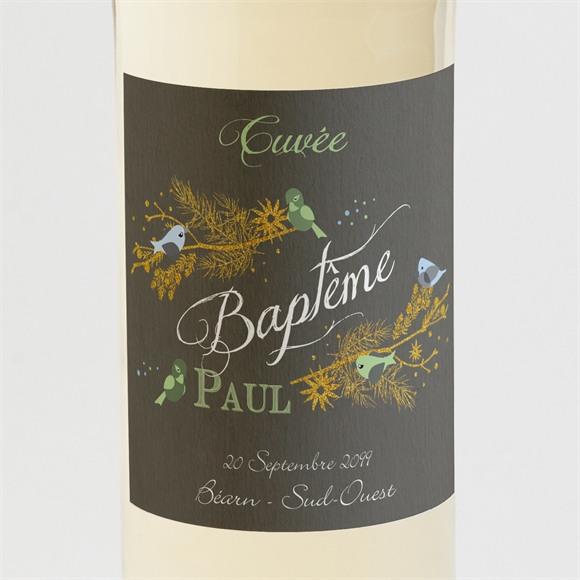 Etiquette de bouteille baptême Plumes printanières réf.N3001104