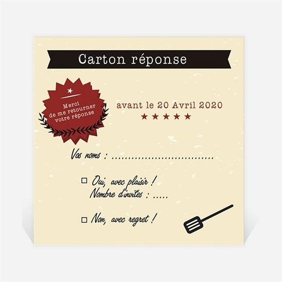Carton réponse départ à la retraite Autour d'un barbecue réf.N3001105