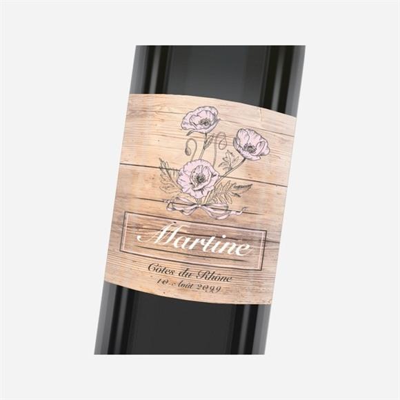Etiquette de bouteille départ retraite Gravure sur bois réf.N3001154