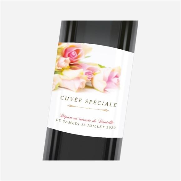 Etiquette de bouteille départ retraite Invitation florale réf.N3001166