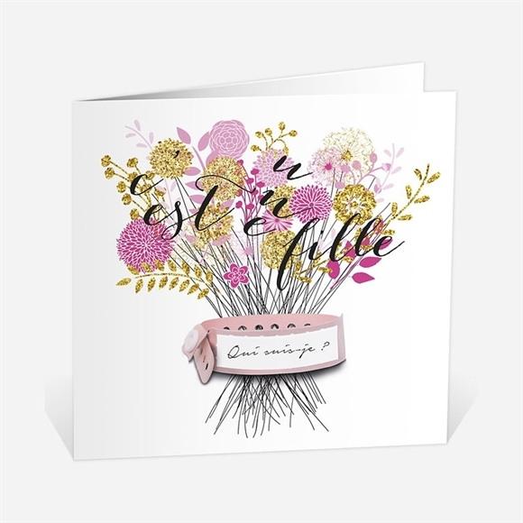 Faire-part naissance Bouquet fille vintage réf.N45151