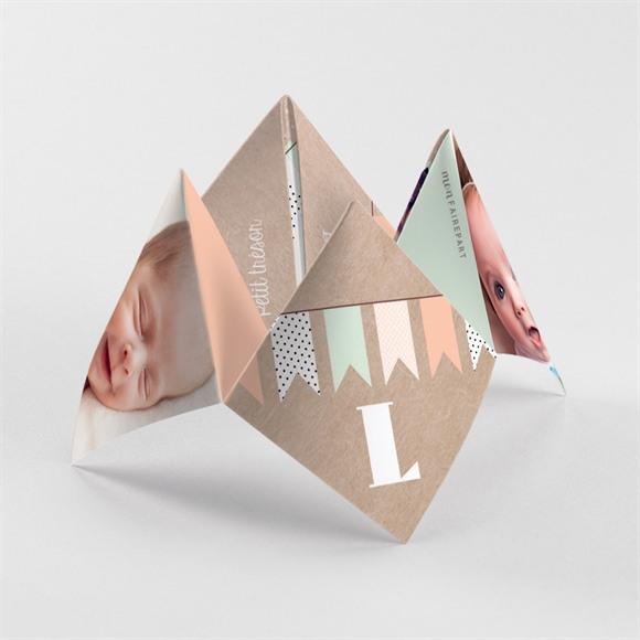 Faire-part naissance Farandoles Kraft photos réf.N33049
