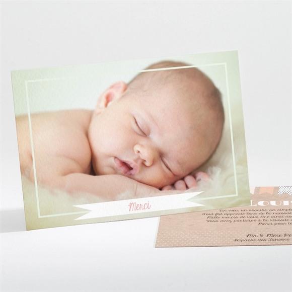 Remerciement naissance Farandoles Kraft photos réf.N111146