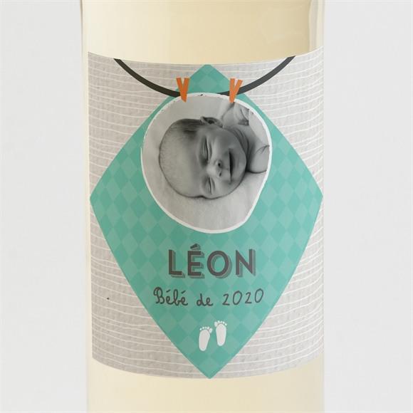 Etiquette de bouteille naissance petites tenues photo vintage réf.N3001182
