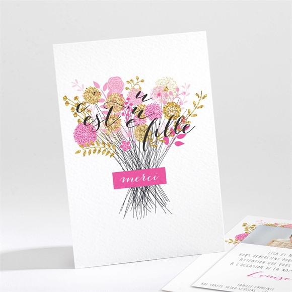 Remerciement naissance Bouquet fille vintage réf.N211116