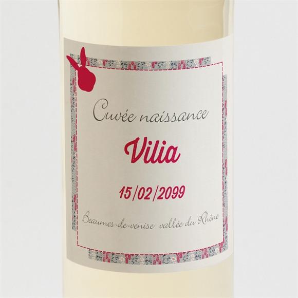 Etiquette de bouteille naissance Joli lapin avec photo réf.N3001200