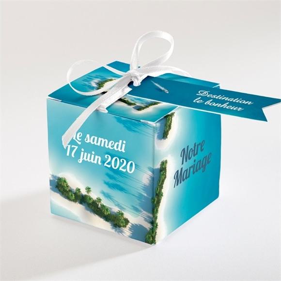 Boîte de dragées mariage Eaux turquoises réf.N34004