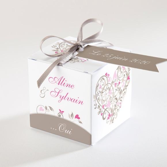 Boîte de dragées mariage Coeur arabesque réf.N34009