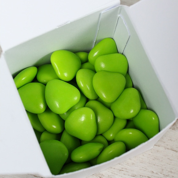 Dragées baptême coeur choco vert anis