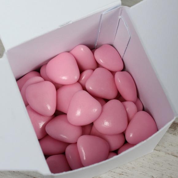Dragées baptême coeur choco rose
