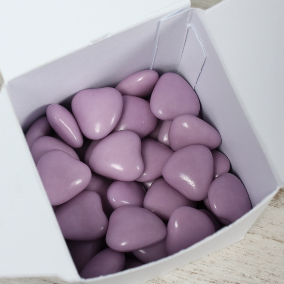 Dragées baptême coeur choco lilas