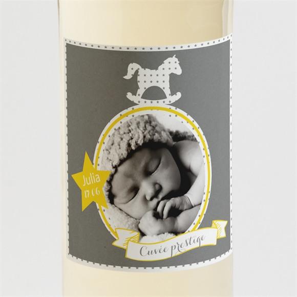 Etiquette de bouteille baptême Cheval à bascule ardoise réf.N3001205