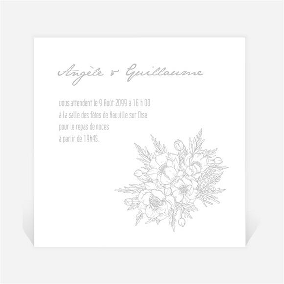 Carton d'invitation mariage Gravure florale sur photo réf.N3001211