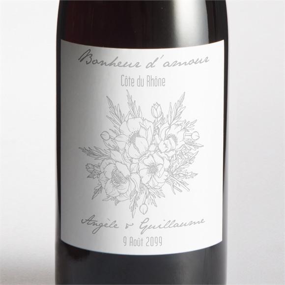 Etiquette de bouteille mariage Gravure florale sur photo réf.N3001213