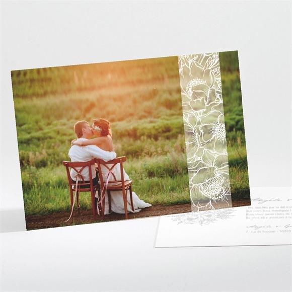 Remerciement mariage Gravure florale sur photo réf.N111164