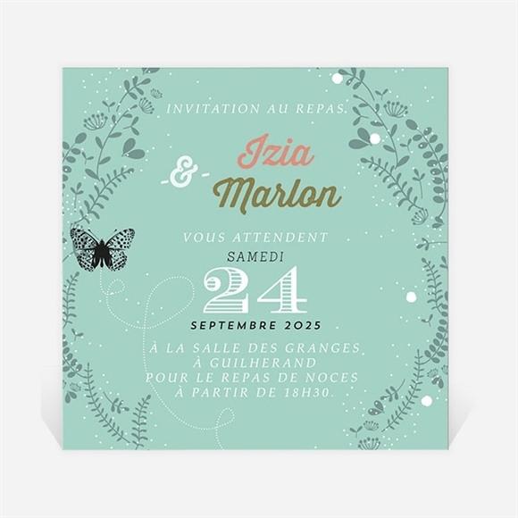 Carton d'invitation mariage Papillons et printemps réf.N3001214