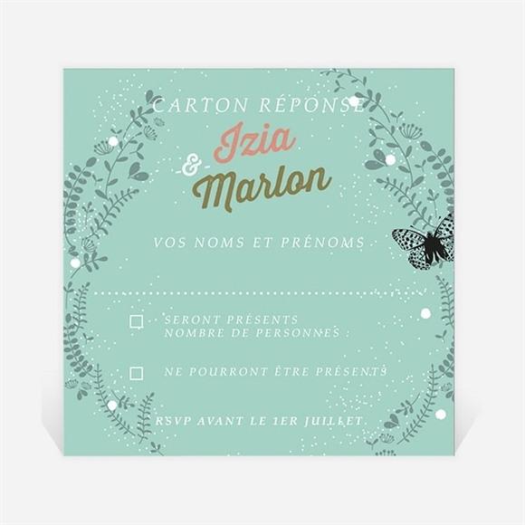 Carton réponse mariage Papillons et printemps réf.N3001215