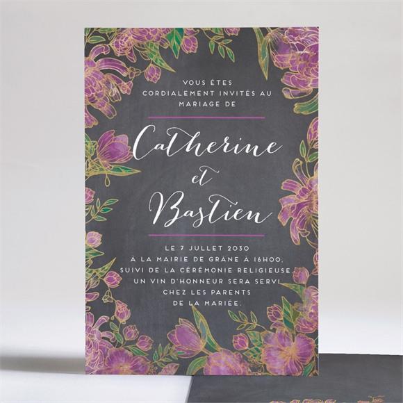 Faire-part mariage Ardoise fleurie réf.N241149